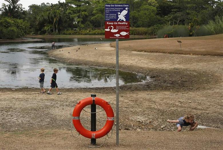 Children play along a partially dried up pond at the Singapore Botanical Gardens February 26, 2014. REUTERS/Edgar Su