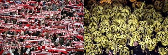 File photo of (L) Bayern Munich's supporters celebrating the victory of their team during their German Bundesliga first division soccer match against Hoffenheim in Munich March 10, 2012, and (R) supporters of Borussia Dortmund cheering for their team prior to the start of their German first division Bundesliga soccer match against Nuremberg in Nuremberg, December 5, 2010. REUTERS/Staff/Files