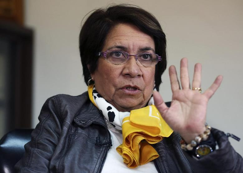 Leftist presidential candidate Aida Avella, 65, a contender from the Patriotic Union party, gestures during an interview with Reuters in Bogota February 25, 2014. REUTERS/ John Vizcaino