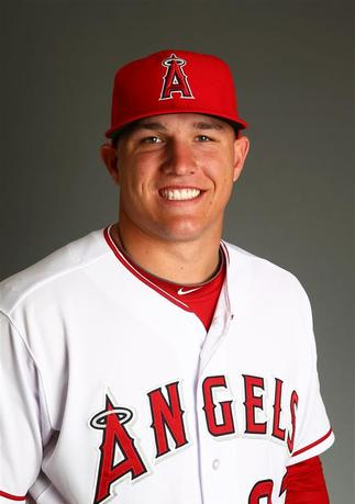 Feb 26, 2014; Tempe, AZ, USA; Los Angeles Angels outfielder Mike Trout poses for a portrait during photo day at Tempe Diablo Stadium. Mark J. Rebilas-USA TODAY Sports