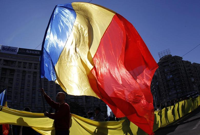 A man waves a Romanian national flag during a march in downtown Bucharest October 20, 2013. REUTERS/Bogdan Cristel
