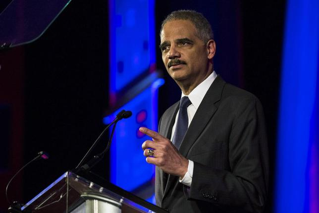 United States Attorney General Eric Holder speaks during the Human Rights Campaign's 13th annual Greater New York Gala in the Manhattan borough of New York, February 8, 2014. REUTERS/Keith Bedford