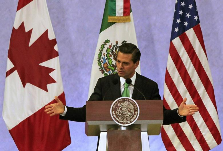 Mexico's President Enrique Pena Nieto gives a speech during a news conference, next to U.S. President Barack Obama and Canada's Prime Minister Stephen Harper (both not pictured), at the North American Leaders' Summit in Toluca near Mexico City, February 19, 2014 file photo. REUTERS/Henry Romero