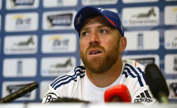 England's Matt Prior talks at a news conference before Thursday's second Ashes cricket test match against Australia at Lord's cricket ground in London July 16, 2013. REUTERS/Philip Brown/Files