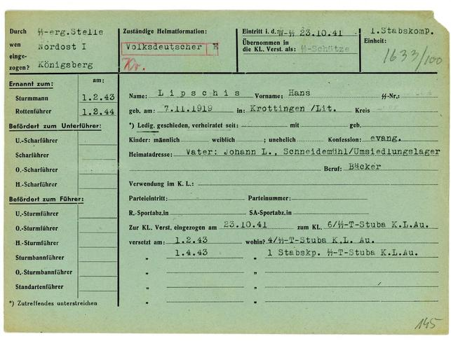 The 1941 military service record of SS soldier Hans Lipschis is shown in this undated handout photograph provided by the Muzeum Auschwitz-Birkenau. REUTERS/Muzeum Auschwitz-Birkenau/Handout via Reuters