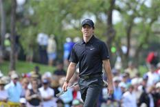Feb 28, 2014; Palm Beach Gardens, FL, USA; Rory McIlroy approaches the 8th green during the second round of The Honda Classic at PGA National GC Champion Course. Mandatory Credit: Bob Donnan-USA TODAY Sports