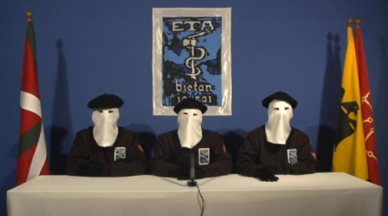 A frame grab released January 10, 2011 shows the video declaration of three members of Spain's Basque Separatist Group ETA declaring a permanent ceasefire. REUTERS/Gara/Handout