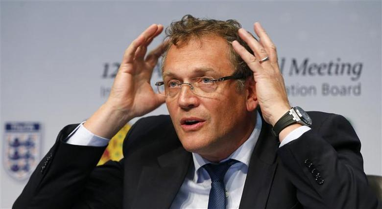 FIFA Secretary General Jerome Valcke gestures as he addresses a news conference after a meeting of the International Football Association Board (IFAB) at the the FIFA headquarters in Zurich March 1, 2014. Reuters/Arnd Wiegmann
