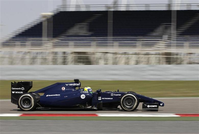Williams Formula One driver Felipe Massa of Brazil drives his car during day three of Formula One's final pre-season test at Bahrain International Circuit in Sakhir south of Manama, March 1, 2014. REUTERS/Hamad I Mohammed