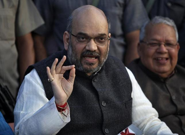 Amit Shah, a leader of Bharatiya Janata Party (BJP), speaks during a news conference in Lucknow March 1, 2014. PREUTERS/Pawan Kumar