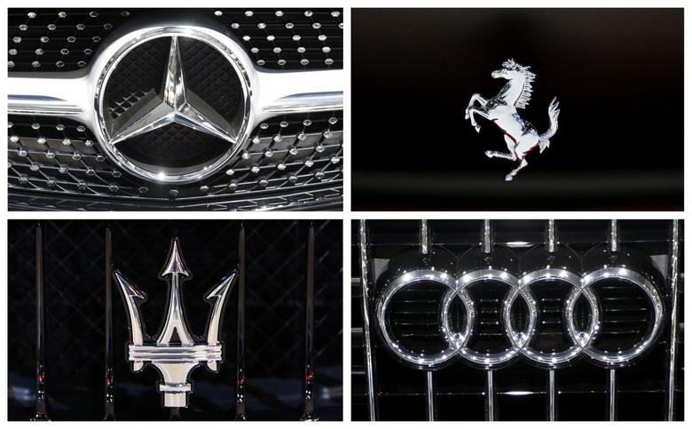 A combination photograph shows the logos of luxury cars at the European Motor Show in Brussels January 14, 2014 file photo. REUTERS/Francois Lenoir