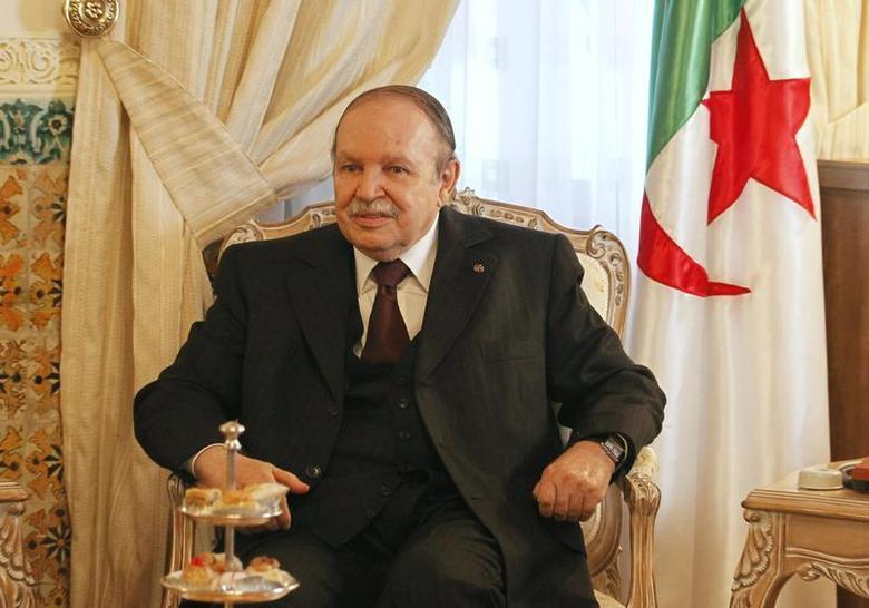 Algeria's President Abdelaziz Bouteflika speaks with Qatar's Prime Minister Sheikh Hamad bin Jassim al-Thani (not pictured) during their meeting at the Presidential Palace in Algiers September 11, 2012. REUTERS/Louafi Larbi