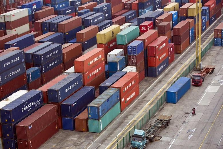 Containers are seen at a port of Shanghai Free Trade Zone, February 11, 2014 file photo. REUTERS/Aly Song