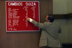 Un operador modifica una tabla de precios en una casa de cambios en el centro de Santiago, oct 13 2008 REUTERS/Ivan Alvarado