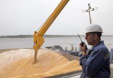 Um funcionário observa grãos sendo carregados em um terminal de carregamento de um exportador na cidade de Nikolaev, no sul da Ucrânia. A Ucrânia, um dos maiores exportadores mundiais de grãos, garantiu que a turbulência política não reduzirá a semeadura de grãos de primavera no país, disse o novo ministro da Agricultura ucraniano. 02/07/2013 REUTERS/Vincent Mundy