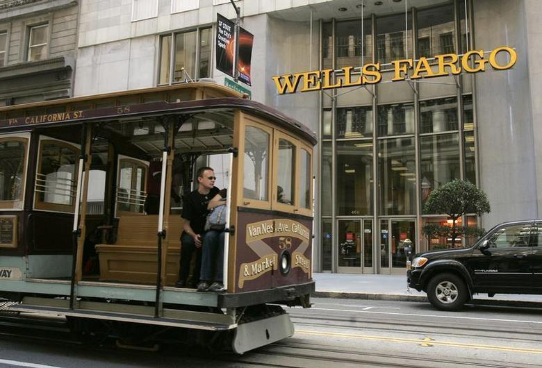 A cable car passes a Wells Fargo bank building along California Street in San Francisco, California October 7, 2008. REUTERS/Robert Galbraith