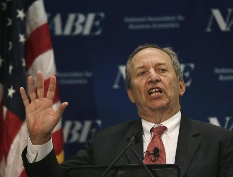 Former U.S. Secretary of the Treasury and Harvard University's Lawrence Summers delivers remarks at the National Association for Business Economics Policy Conference in Arlington, Virginia February 24, 2014 file photo. REUTERS/Gary Cameron