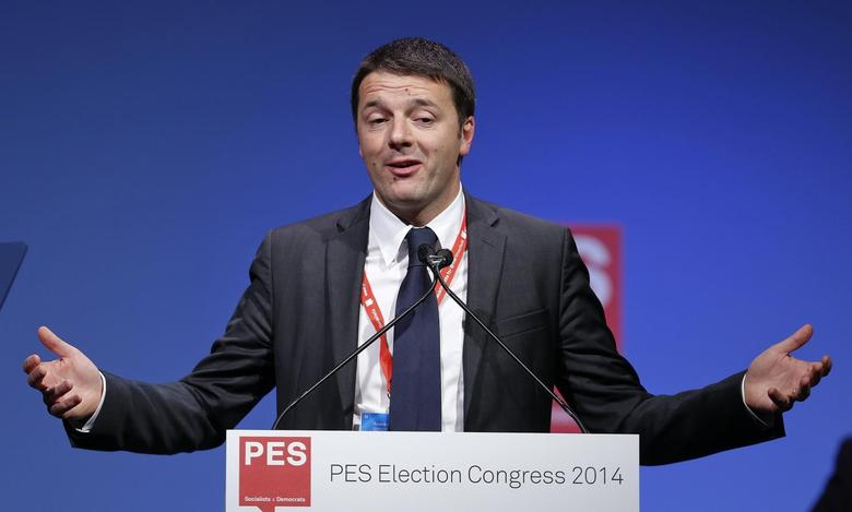 Italian Prime Minister Matteo Renzi gestures as he talks during a pre-election congress of the Party of European Socialist (PES) in Rome March 1, 2014. REUTERS/Remo Casilli
