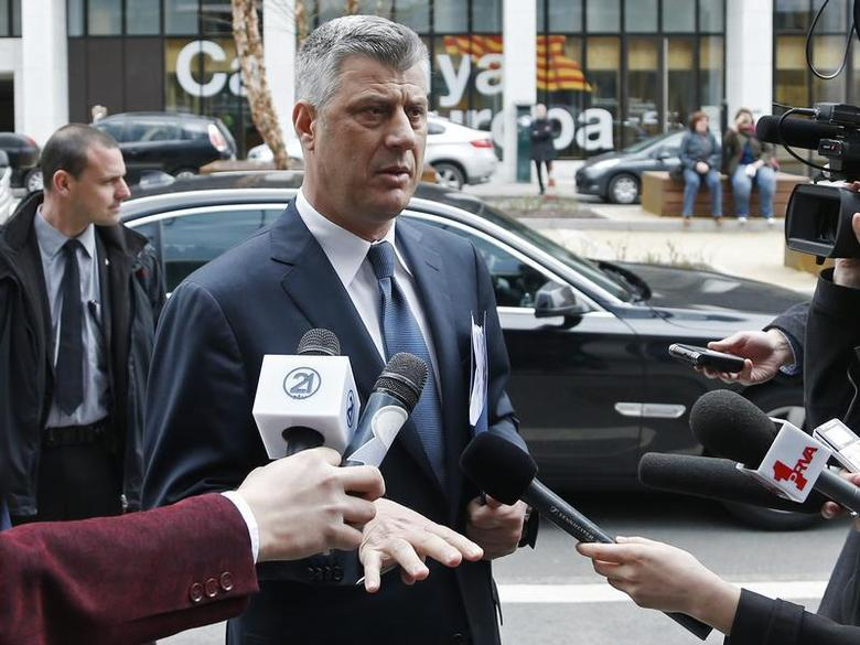 Kosovo's Prime Minister Hashim Thaci talks to the media as he arrives for a meeting with Serbian Prime Minister Ivica Dacic and European Union foreign policy chief Catherine Ashton in Brussels April 19, 2013. REUTERS/Francois Lenoir