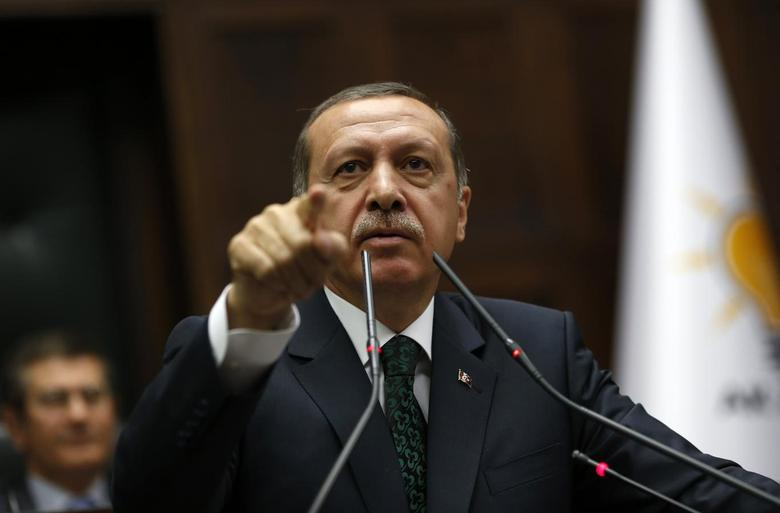 Turkey's Prime Minister Tayyip Erdogan addresses members of parliament from his ruling AK Party (AKP) during a meeting at the Turkish parliament in Ankara June 25, 2013. REUTERS/Umit Bektas