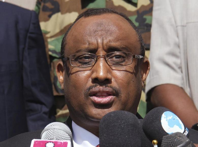Somalia Puntland President Abdiweli Mohamed Ali, makes his acceptance speech in Garowe, January 14, 2014. REUTERS/Abdiqani Hassan