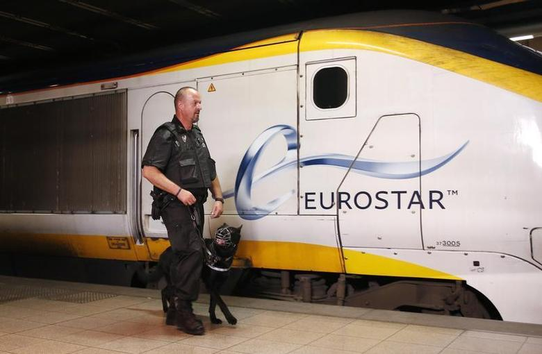 A security guard of Securail patrols with his dog on a platform at the Eurostar terminal at Brussels Midi/Zuid rail station August 29, 2013. REUTERS/Francois Lenoir