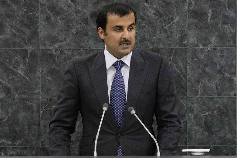 Sheikh Tamim bin Hamad Al-Thani, Amir of the State of Qatar, addresses the 68th United Nations General Assembly at UN headquarters in New York, September 24, 2013. REUTERS/Brendan McDermid