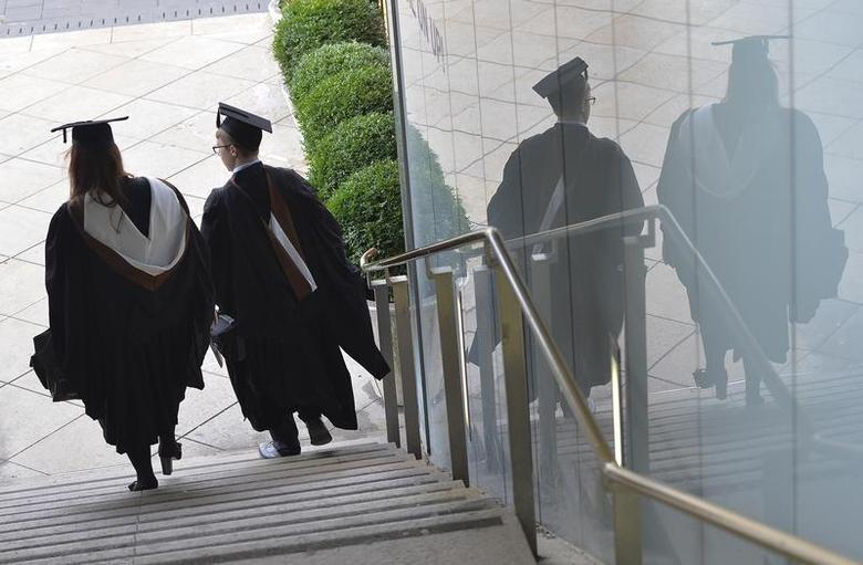 Two graduates arrive for a graduation ceremony in London December 9, 2013. REUTERS/Toby Melville