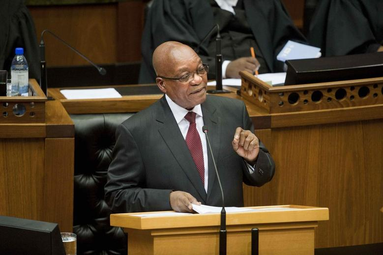 South Africa's President Jacob Zuma delivers his State of the Nation address at Parliament in Cape Town February 13, 2014. REUTERS/Roger Bosch/Pool