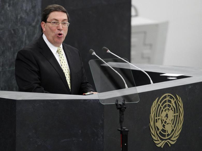 Cuba's Minister of Foreign Affairs Bruno Rodriguez Parrilla addresses the 68th United Nations General Assembly at UN headquarters in New York, September 26, 2013. REUTERS/Adam Hunger