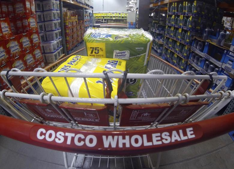 A Costco shopping cart is shown at a Costco Wholesale store in Carlsbad, California in this file photo taken September 11, 2013. REUTERS/Mike Blake