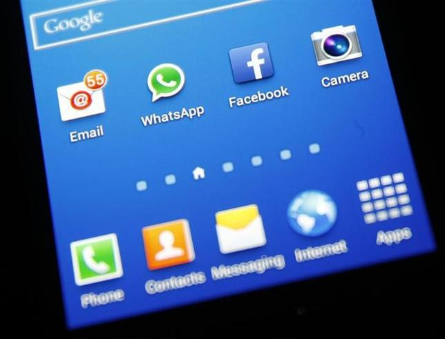 Whatsapp and Facebook icons are seen on a Samsung Galaxy S4 phone in the central Bosnian town of Zenica, February 20, 2014. REUTERS/Dado Ruvic