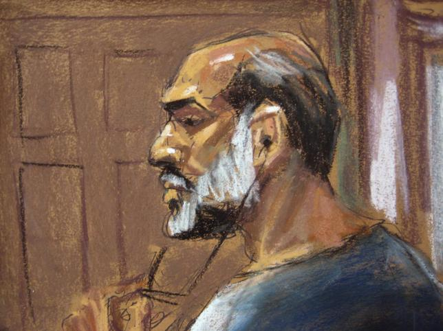 An artist sketch shows Suleiman Abu Ghaith, a militant who appeared in videos as a spokesman for al Qaeda after the September 11, 2001 attacks, appearing at the U.S. District Court in Manhattan March 8, 2013. REUTERS/Jane Rosenberg