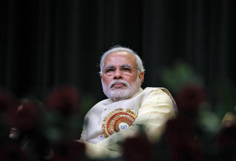 Hindu nationalist Narendra Modi, prime ministerial candidate for India's main opposition Bharatiya Janata Party (BJP) and Gujarat's chief minister, attends the Confederation of All India Traders (CAIT) national convention in New Delhi February 27, 2014. REUTERS/Stringer
