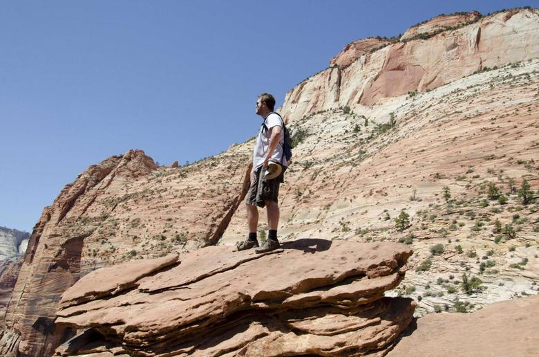 Hemophilia patient Travis Roop is shown during his 2012 visit to Zion National Park in Utah, in this photo released to Reuters on February 26, 2014. For Roop, being able to get life-saving infusions of a blood clotting agent every two weeks, instead of rushing to treat a bleeding episode, meant he could jog for the first time. REUTERS/Gerry Roop/Handout via Reuters