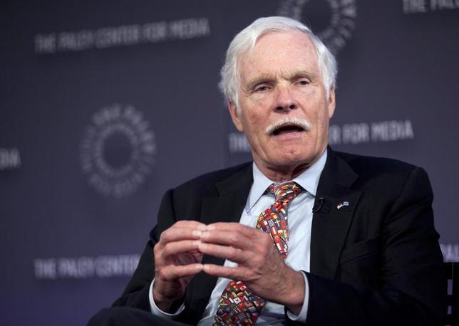 Ted Turner, founder of CNN, speaks on a panel after the screening of ''Cold War'', a documentary chronicling the events that fuelled the war between the United States and the Soviet Union, at the Paley Center for Media in New York April 29, 2012. REUTERS/Allison Joyce