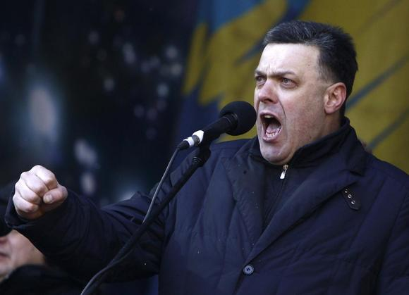 Ukrainian opposition leader Oleh Tyahnybok addresses anti-government protesters during a rally in central Kiev, February 2, 2014. REUTERS/David Mdzinarishvili