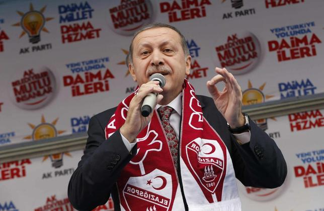 Turkey's Prime Minister Tayyip Erdogan addresses his supporters during an election rally of his ruling AK Party in Elazig March 6, 2014. REUTERS/Umit Bektas