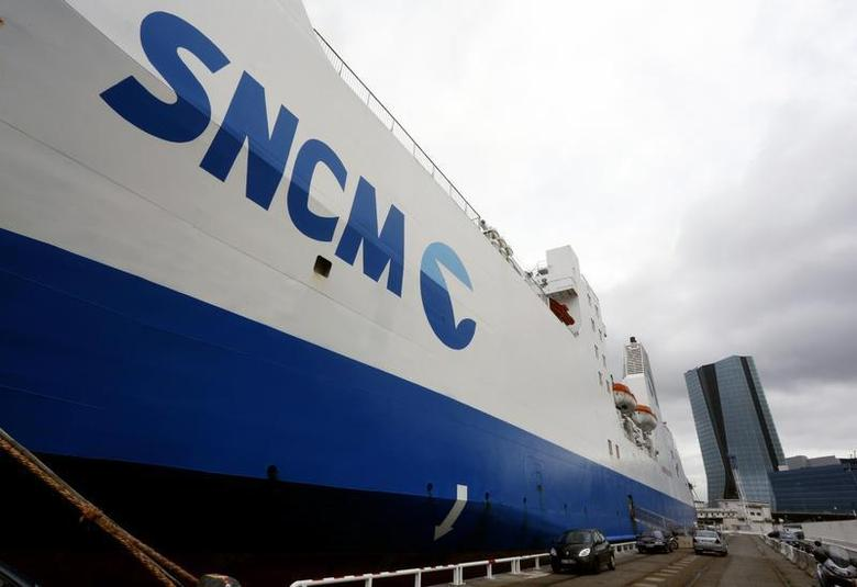 A car ferry operated by the SNCM (National Maritime Corsica-Mediterranean company) is seen at docks in the port of Marseille January 2, 2014 as workers of the company decided to continue a strike to denounce the terms of a government plan to rescue the shipping company and 2,600 jobs. REUTERS/Philippe Laurenson