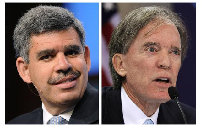 Bill Gross (R), the co-founder and co-chief investment officer of Pacific Investment Management Co (Pimco), and departing CEO Mohamed El-Erian are seen in a combination of 2010 file photos. REUTERS/Phil McCarten/Jason Reed/files