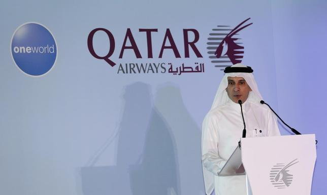 Chief Executive of Qatar Airways Akbar al-Baker announces the airline's participation in the oneworld program, at the Hamad International airport in Doha, October 29, 2013. REUTERS/Fadi Al-Assaad
