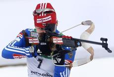 Russia's Ekaterina Iourieva shoots during the women's 10 kilometres pursuit race at the Biathlon World Cup in the southern Bavarian resort of Ruhpolding, January 18, 2009. REUTERS/Alexandra Beier