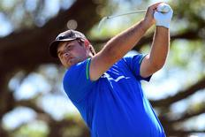 Mar 8, 2014; Miami, FL, USA; Patrick Reed tees off from the 5th hole during the third round of the WGC - Cadillac Championship golf tournament at TPC Blue Monster at Trump National Doral. Mandatory Credit: Andrew Weber-USA TODAY Sports