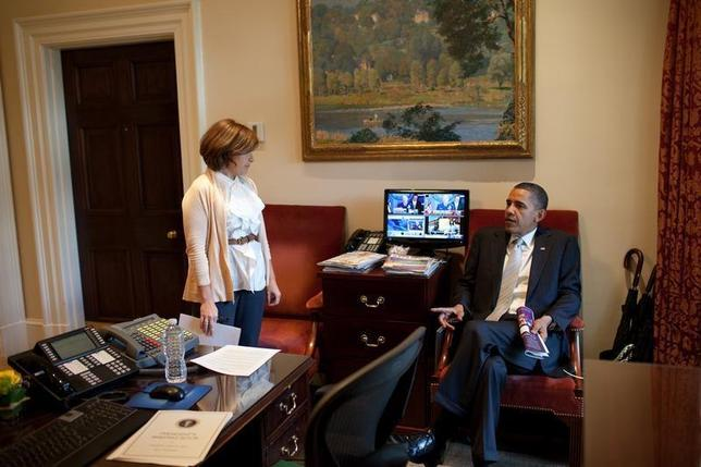 U.S. President Barack Obama talks with Director of Scheduling and Advance Alyssa Mastromonaco in the Outer Oval Office, in this white House handout photo taken on May 24, 2010 and released on June 7, 2010. REUTERS/Pete Souza/The White House