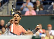 Mar 8, 2014; Indian Wells, CA, USA; Rafael Nadal (ESP) reacts after winning his 2nd round match against Radek Stepanek (CZE) during the BNP Paribas Open at Indian Wells Tennis Garden. Nadal won 2-6, 6-4, 7-5. Mandatory Credit: Jayne Kamin-Oncea-USA TODAY Sports