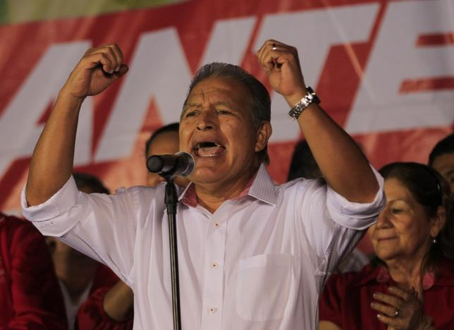 Salvador Sanchez Ceren, presidential candidate for the Farabundo Marti Front for National Liberation (FMLN), speaks to his supporters after the official results in San Salvador February 3, 2014. REUTERS/Henry Romero