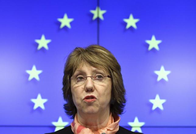 EU foreign policy chief Catherine Ashton holds a news conference after a European Union emergency foreign ministers meeting on the situation in Ukraine, in Brussels March 3, 2014. REUTERS/Yves Herman