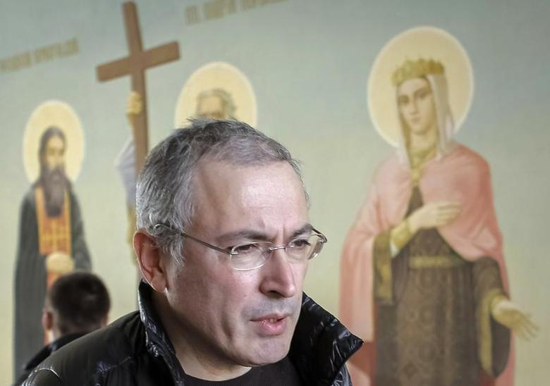 Former Russian oil tycoon Mikhail Khodorkovsky visits Kiev, a day before giving students a lecture on human rights and freedom March 9, 2014. REUTERS/Tatyana Makeyeva