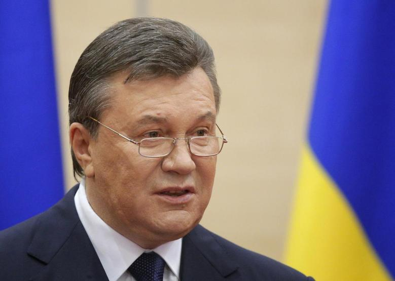 Ousted Ukrainian President Viktor Yanukovich makes a statement during a news conference in the Russian southern city of Rostov-on-Don, March 11, 2014. REUTERS/Maxim Shemetov