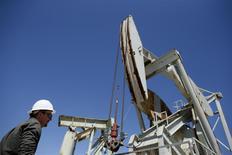 Una unidad de bombeo en Monterey Shale, EEUU, abr 19 2013. La Administración de Información de Energía de Estados Unidos (EIA, por su sigla en inglés) recortó el martes su previsión de crecimiento de la demanda mundial de petróleo en el 2014 en 40.000 barriles por día a 1,22 millones de bpd. REUTERS/Lucy Nicholson